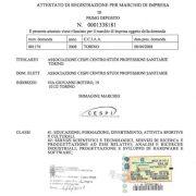 Attestato di registrazione del marchio d'impresa